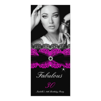 "Fabulous 30 Pink Black 30th Birthday Party 4"" X 9.25"" Invitation Card"