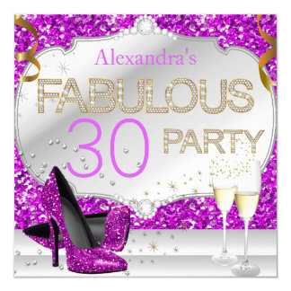 Fabulous 30 Pink Glitter Glamour Birthday Party Card