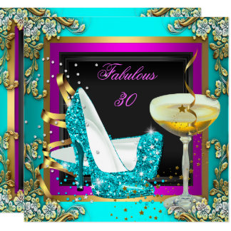 Fabulous 30 Pink Teal Glitter Gold Birthday Party Card