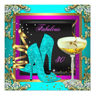 Fabulous 30 Pink Teal Gold Birthday Party Card