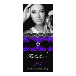 "Fabulous 30 Purple Black 30th Birthday Party 4"" X 9.25"" Invitation Card"
