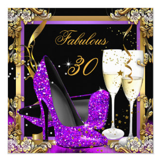 Fabulous 30 Purple Gold Black Birthday Party Card
