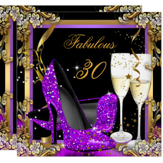 Fabulous 30 Purple Gold Black Birthday Party