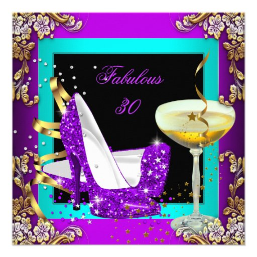 Fabulous 30 Purple Teal Glitter Gold Party Custom Invitations