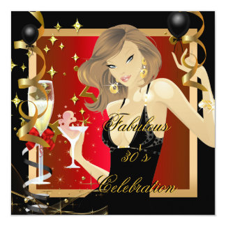 Fabulous 30 Red Gold Black Birthday Party 5.25x5.25 Square Paper Invitation Card