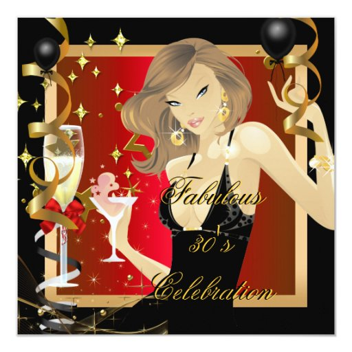 Fabulous 30 Red Gold Black Birthday Party Invite