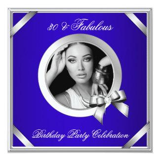 Fabulous 30 Royal Blue Diamond Silver Photo 5.25x5.25 Square Paper Invitation Card