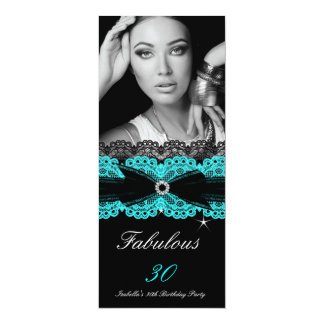 "Fabulous 30 Teal Blue Black 30th Birthday Party 4"" X 9.25"" Invitation Card"
