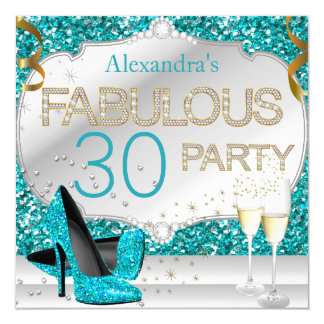 Fabulous 30 Teal Glitter Glamour Birthday Party Card