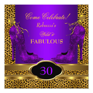 Fabulous 30 Wild Leopard Purple Cheetah Heels Card