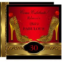 Fabulous 30 Wild Leopard Red Cheetah High Heels Invitation