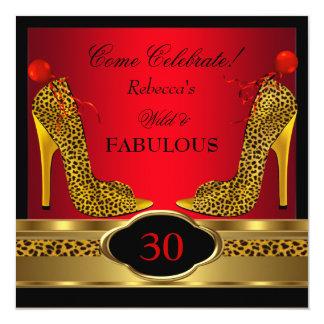 Fabulous 30 Wild Leopard Red Cheetah High Heels Custom Invites