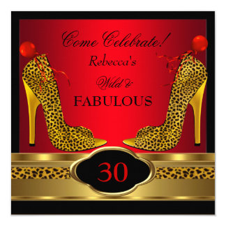 Fabulous 30 Wild Leopard Red Cheetah High Heels 5.25x5.25 Square Paper Invitation Card