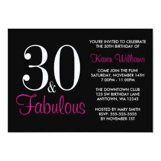 Fabulous 30th Black and Pink Birthday Party 5x7 Paper Invitation Card