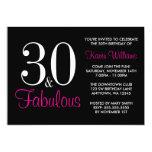 Fabulous 30th Black and Pink Birthday Party Custom Invitation