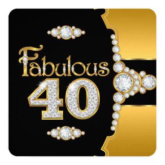 Fabulous 40 40th Birthday Gold Black Diamond 5.25x5.25 Square Paper Invitation Card