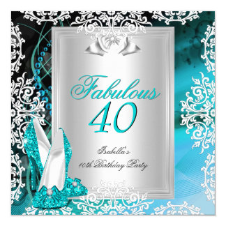 Fabulous 40 40th Birthday Party Blue Teal Shoes 2 5.25x5.25 Square Paper Invitation Card
