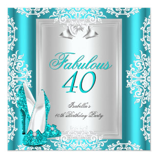 Fabulous 40 40th Birthday Party Blue Teal Shoes Card