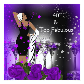 Fabulous 40 40th Birthday Purple Roses Drinks Card