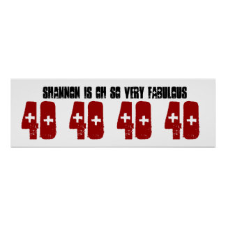 Fabulous 40 Birthday Party Banner Custom Name Poster
