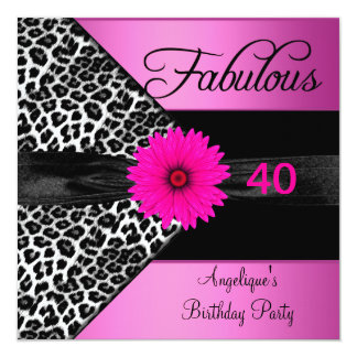 Fabulous 40 Birthday Party Hot Pink Leopard Invitations