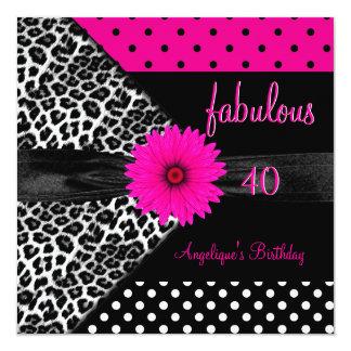 """fabulous 40 Birthday Zebra Spot Polka Dot 5.25"""" Square Invitation Card"""