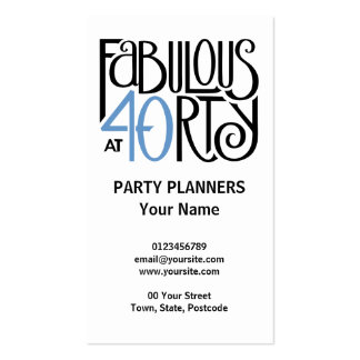 Fabulous 40 black blue Business Card
