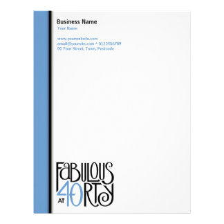 Fabulous 40 black blue Letterhead