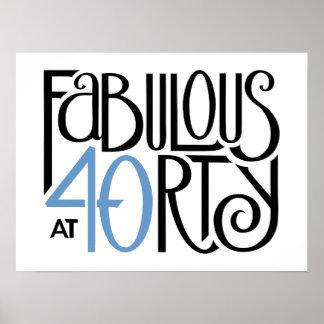 Fabulous 40 black blue Poster