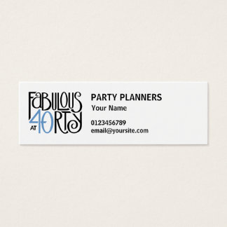 Fabulous 40 black blue small Business Card