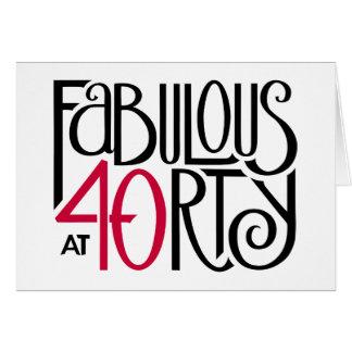 Fabulous 40 black red Birthday Card