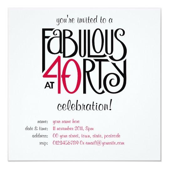 Fabulous 40 black red Birthday Invitation