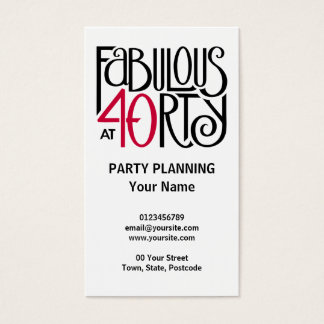 Fabulous 40 black red Business Card