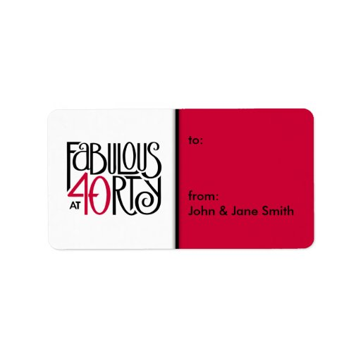 Fabulous 40 black red Gift Tag  Label Address Label