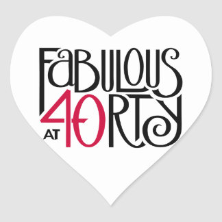 Fabulous 40 black red Heart Sticker