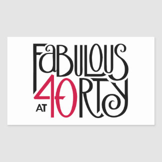 Fabulous 40 black red Rectangle  Sticker