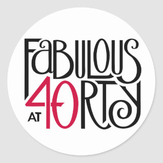 Fabulous 40 black red Round Sticker