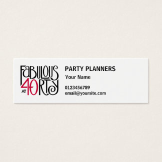 Fabulous 40 black red small Business Card