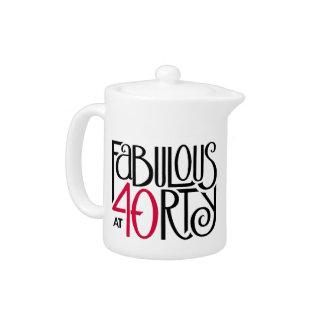 Fabulous 40 black red Teapot Small