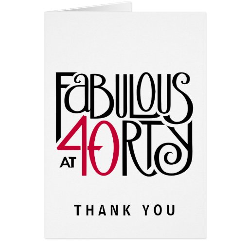 Fabulous 40 black red Thank You Note Card
