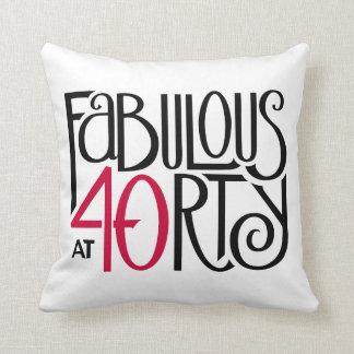 Fabulous 40 black red Throw Pillow