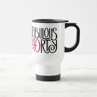 Fabulous 40 black red Travel Mug