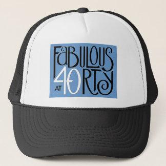 Fabulous 40 black white blue Hat
