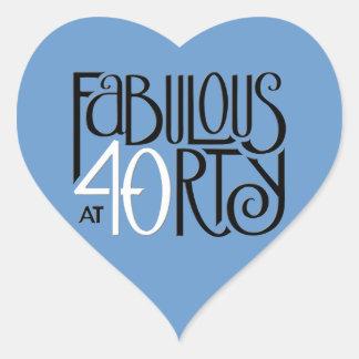 Fabulous 40 black white blue Heart Sticker