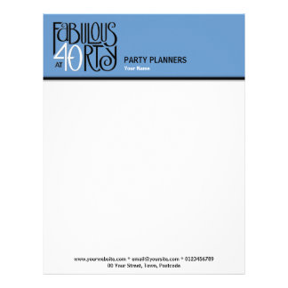 Fabulous 40 black white blue Letterhead