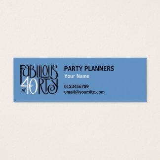 Fabulous 40 black white blue small Business Card