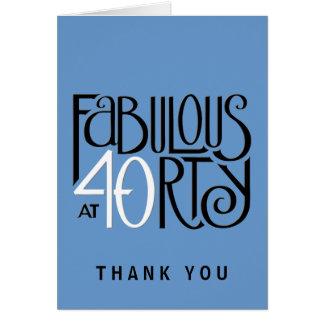 Fabulous 40 black white blue Thank You Note Card
