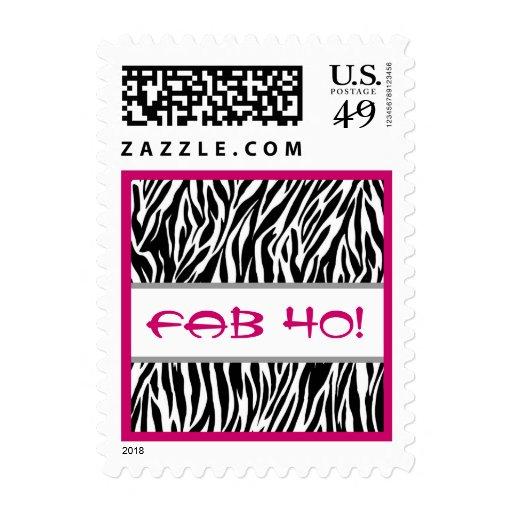 Fabulous 40 Black White Pink Zebra Stamps
