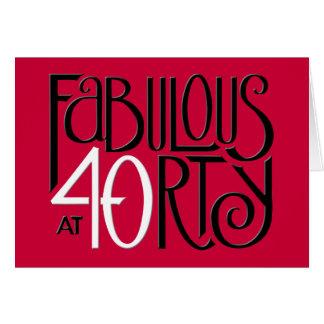Fabulous 40 black white red Birthday Card