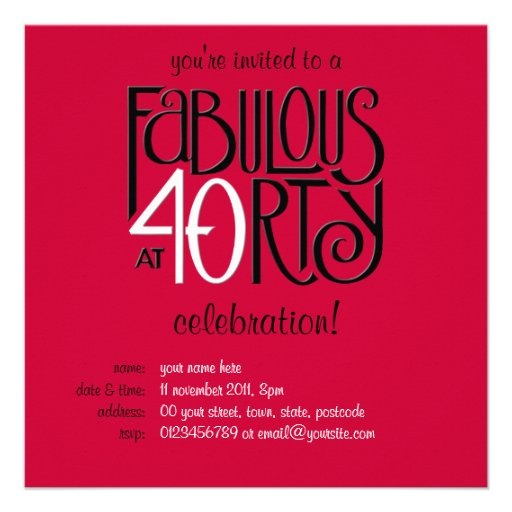 Fabulous 40 black white red Birthday Invitation | Zazzle
